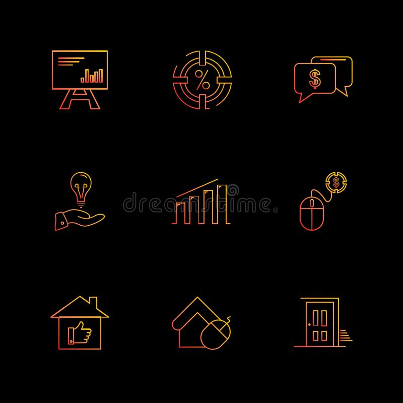 celender , dollar, target, watch , graph , mouse , eps icons se vector illustration