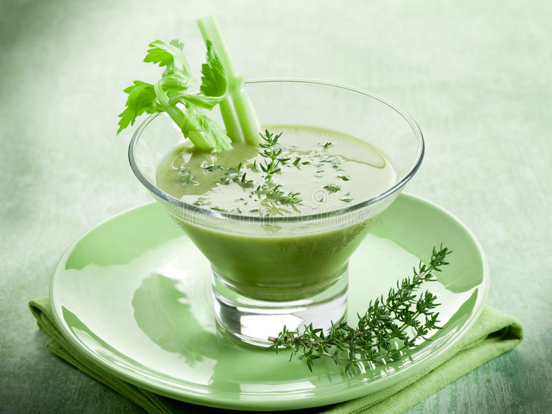 Celery Cream Soup With Thymus Stock Image