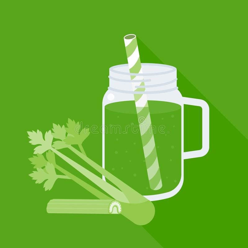 Celery juice in mason jar with celery. Flat design vector vector illustration