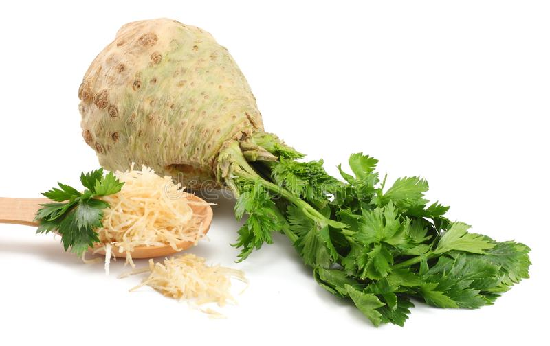 Celery root with leaf isolated on white background. Celery isolated on white. Healthy food stock photo