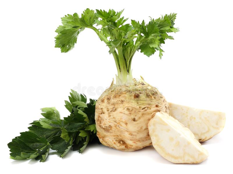 Celery root with leaf isolated on white background. Celery isolated on white. Healthy food royalty free stock images