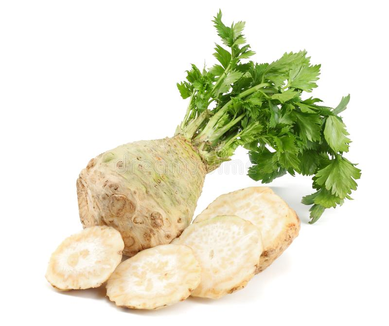 Celery root with leaf isolated on white background. Celery isolated on white. Healthy food royalty free stock photos