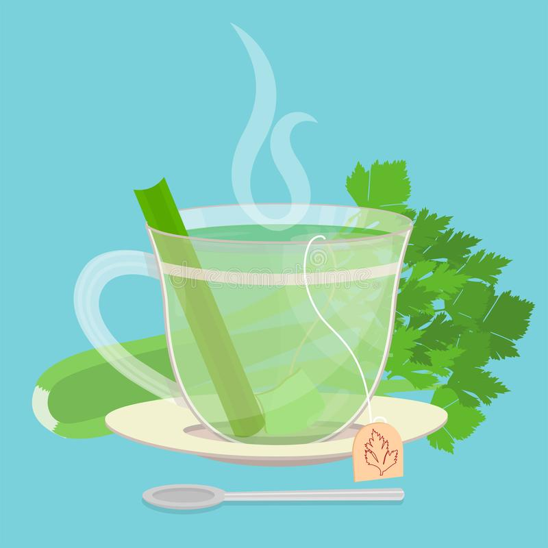Celery sachet tea. Cup of celery tea. Tea sachet with celery behind the saucer. Piece of celery inside the cup. Smoke on the drink. Spoon in front of cup vector illustration