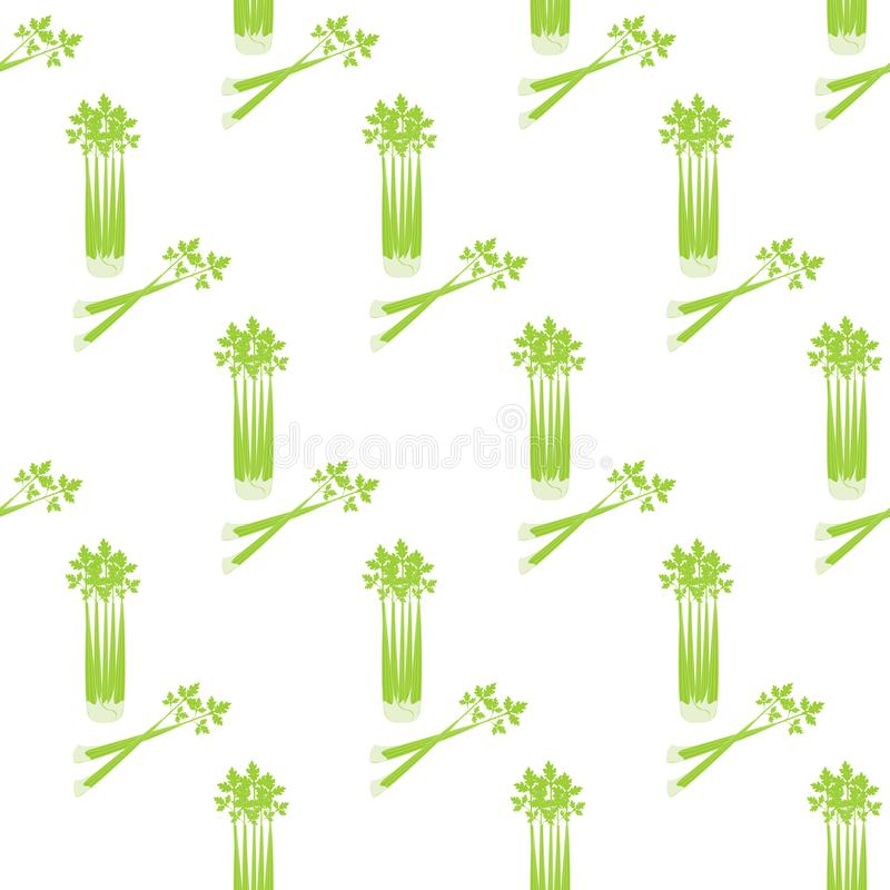 Celery seamless pattern. On the white background. Vector illustration vector illustration
