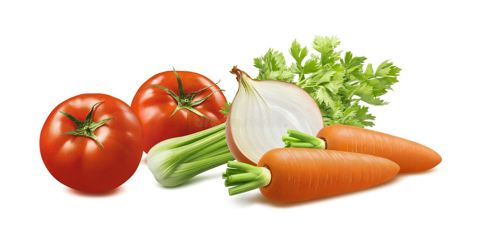 Celery, tomato, carrot, onion isolated on white background royalty free stock photo