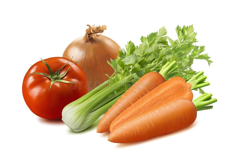 Celery, tomato, onion and carrot isolated on white background royalty free stock images