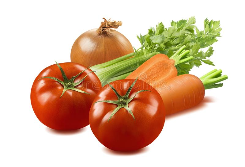 Celery, tomato, onion and carrot vegetables isolated on white ba. Traditional soup ingredients. Celery, tomato, onion and carrot isolated on white background stock photography