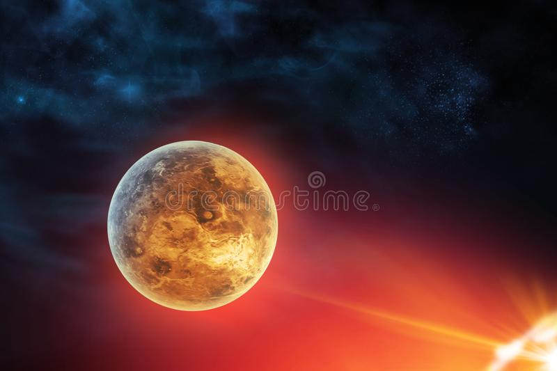 Celestial digital art Venus planet in outer space near sun concept series 722 stock illustration