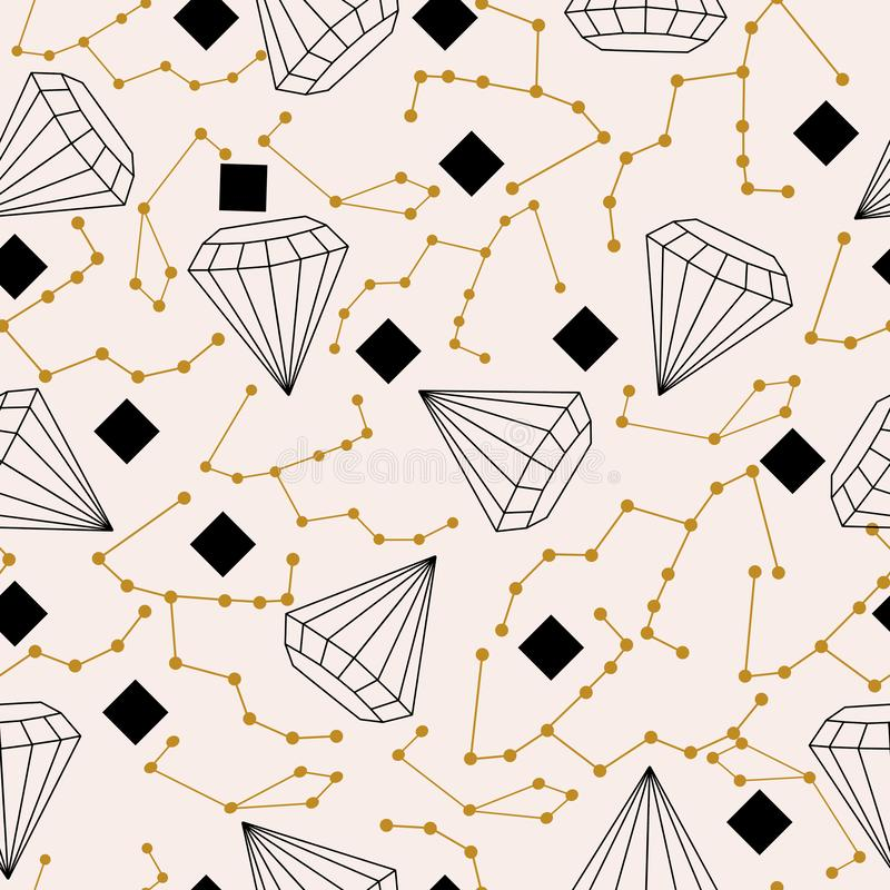 Celestial elements and diamonds, in a seamless pattern design vector illustration