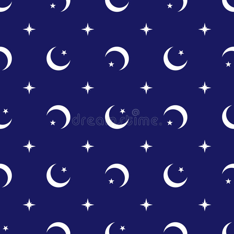 Celestial geometric seamless pattern vector background Islamic religion design with crescent moons stars and north pole star royalty free illustration