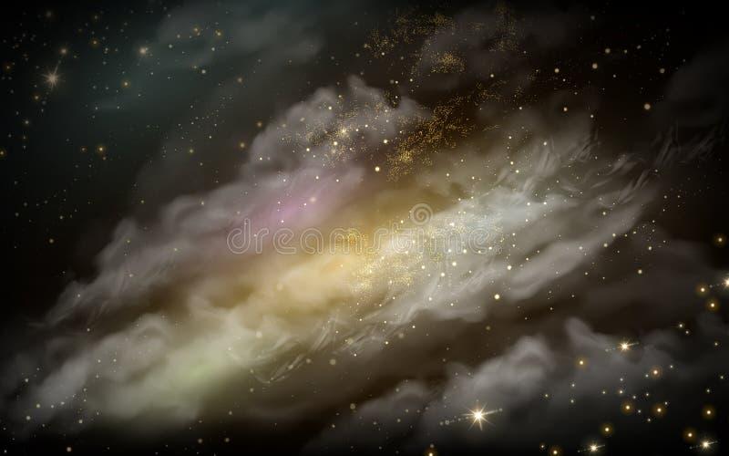 Celestial nebula background. Misty nebula element celestial background, 3d illustration vector illustration