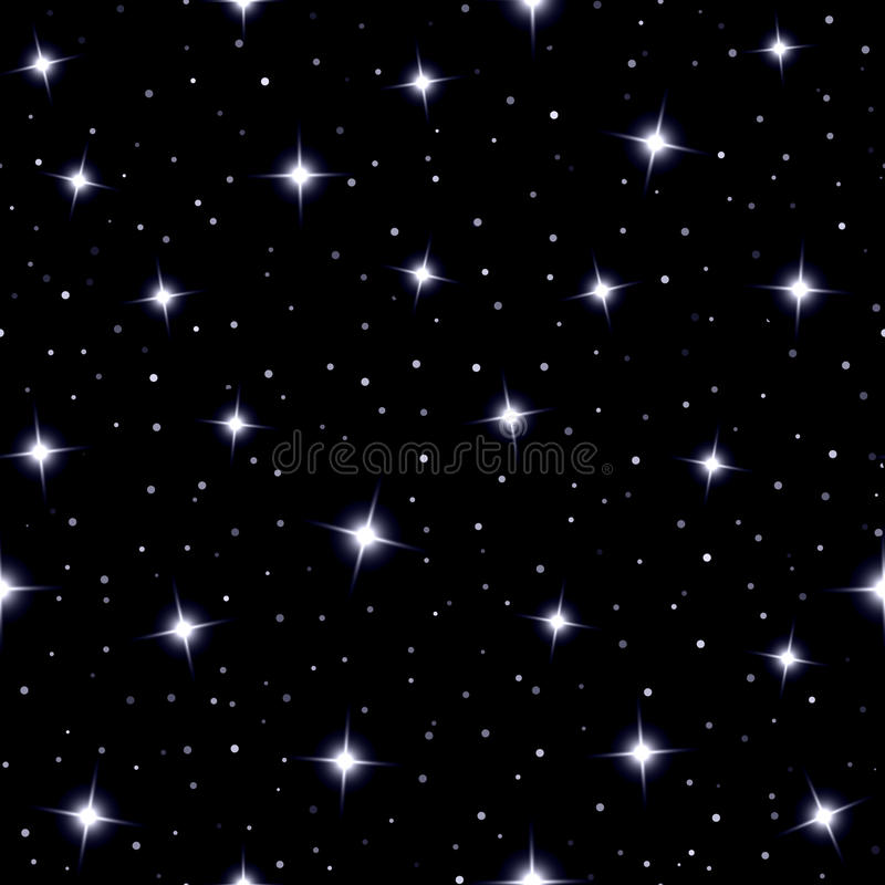 Celestial seamless background with sparkling stars royalty free illustration