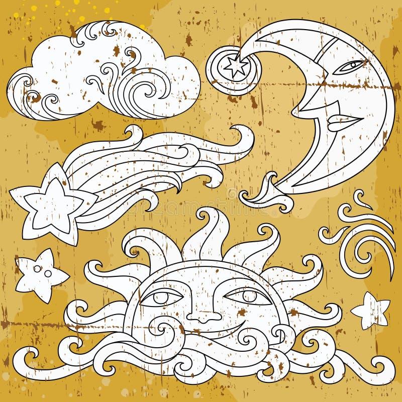 Celestial symbols 1 vector illustration