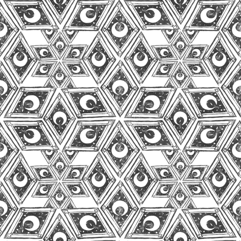Celestial tile seamless pattern, block print wallpaper with geometry and crescent isolated on white background, black and white royalty free illustration