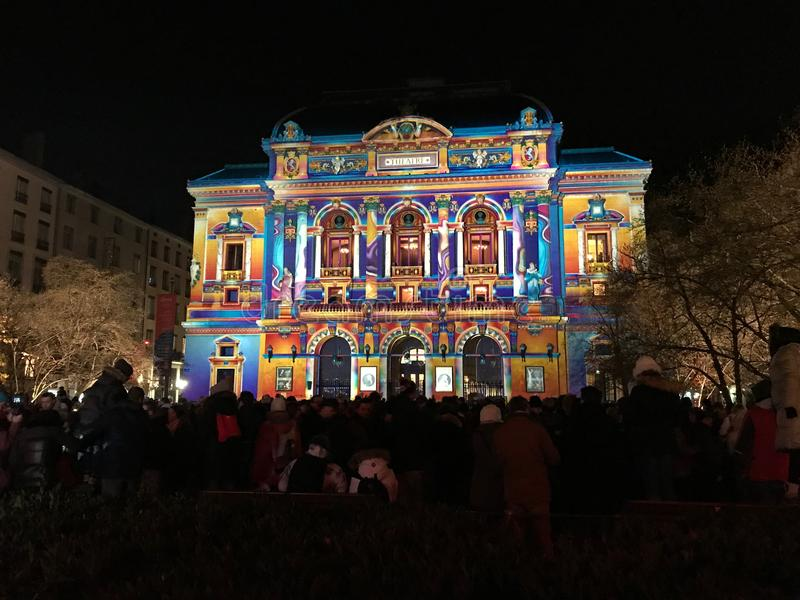 Celestins Theatre view during Festival of Lights in Lyon France. Lyon France, 8 December 2017: Celestins Theatre view during Fete des Lumieres - Festival of stock photography