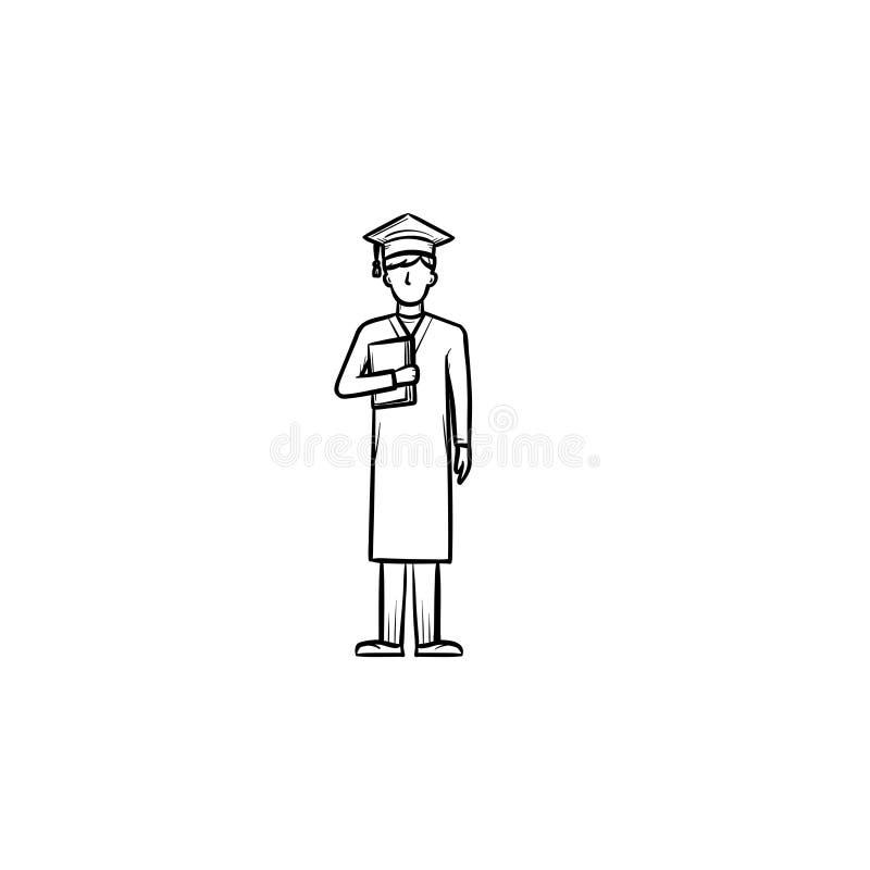 Celibe nell'icona disegnata a mano di schizzo del cappuccio di graduazione illustrazione di stock
