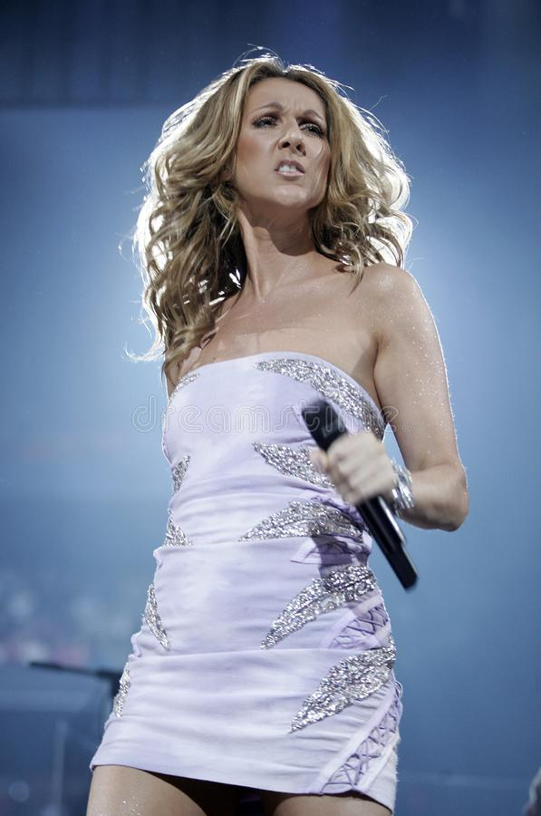 Celine Dion performs in concert stock images