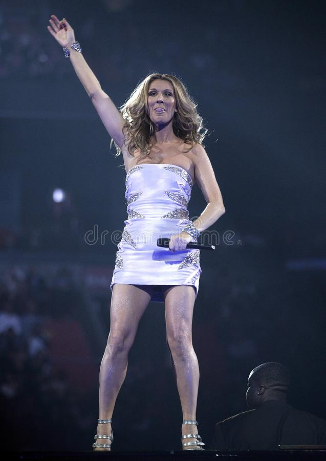 Celine Dion performs in concert stock photo
