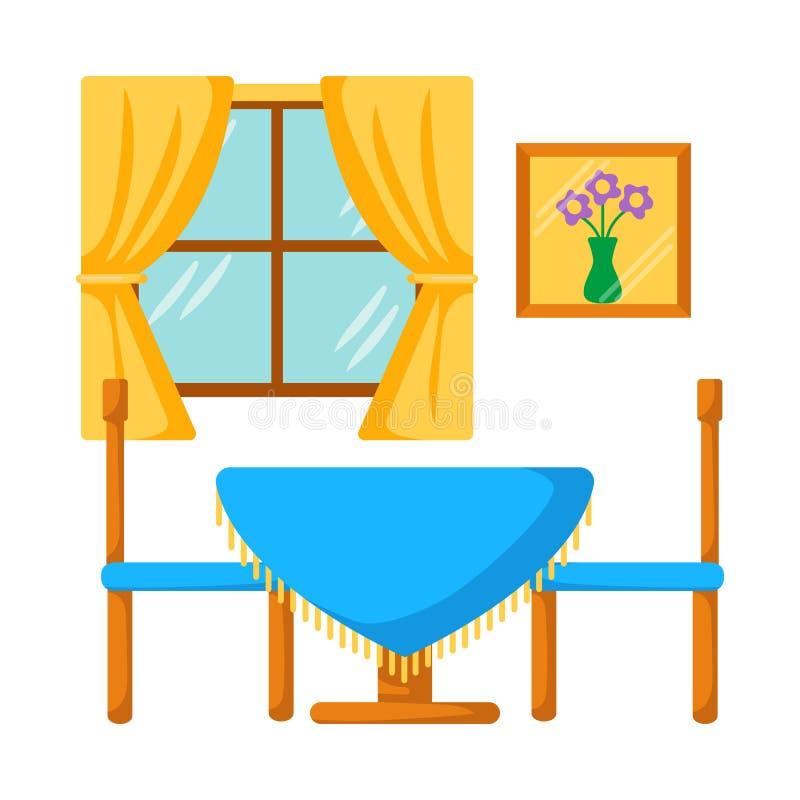Celings-Strahlen mischen tadellos mit Steinwandordnung und -kamin Abendtisch mit Stühlen lizenzfreie abbildung