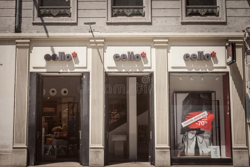 Celio Logo in front of their shop for Lyon. Celio is a French fashion retailer focused on men clothing, spread worldwide. LYON, FRANCE - JULY 13, 2019: ..Picture royalty free stock image
