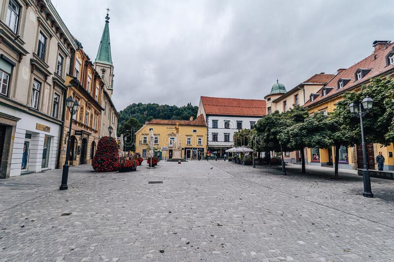 Celje, Slovenia. Sep 08, 2019:  - September 8th, 2019. Historical center of Celje with castle, municipal house and main square stock photography