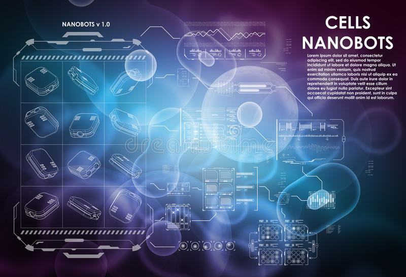 Cell background with futuristic interface elements. HUD UI for medical app. Futuristic user interface. Molecular. Research. Nanotechnology medicine concept royalty free illustration