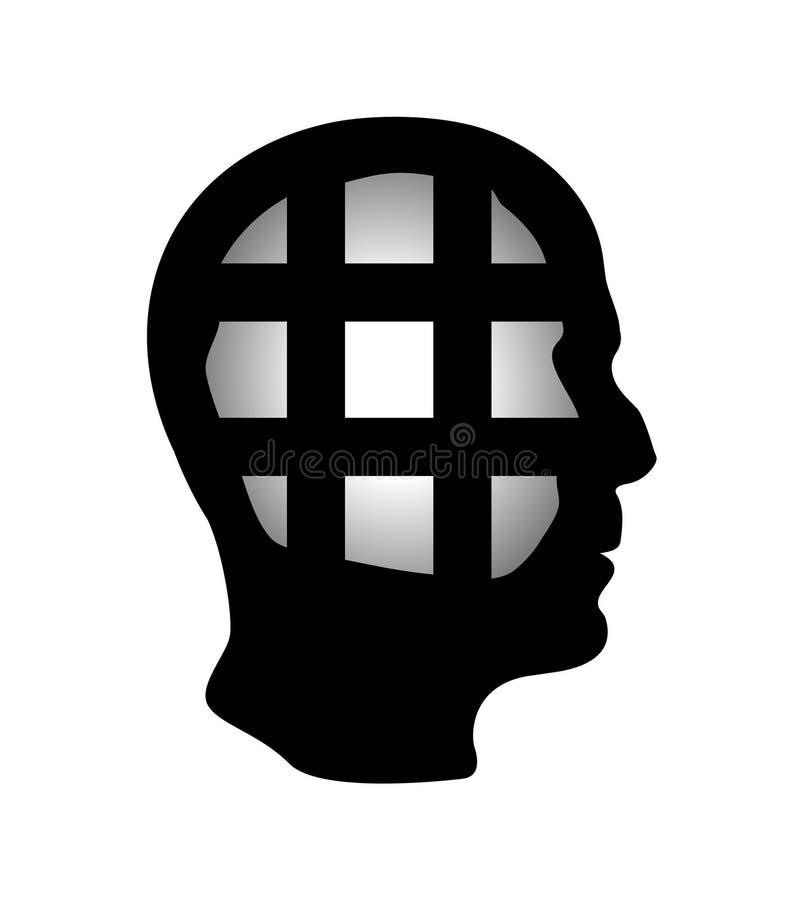 Cell i det mänskliga huvudet som är i arrest, ansträngning, brist av kreativitet, begränsningar på friheten av tankebegreppet ?ga royaltyfri illustrationer