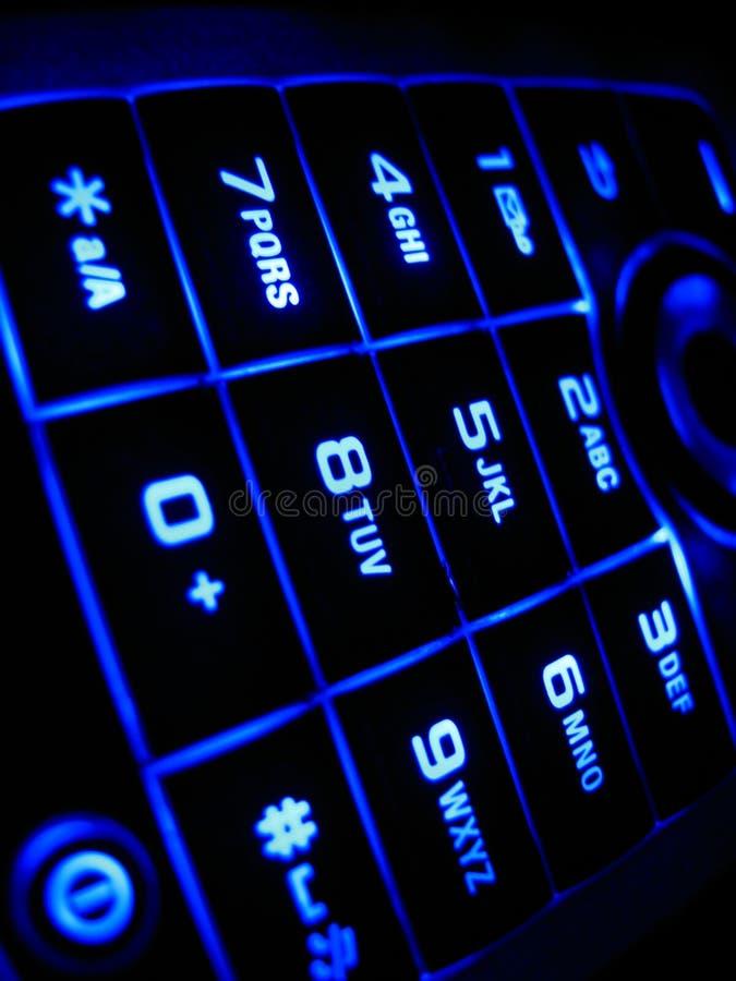 Cell Keypad. Illuminated Cellphone Keypad Close Up stock photo