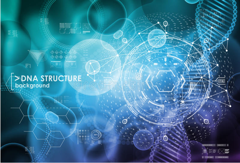Cell och DNAbakgrund med manöverenhetsbeståndsdelar HUD UI för läkarundersökningen app Molekylär forskning vektor illustrationer