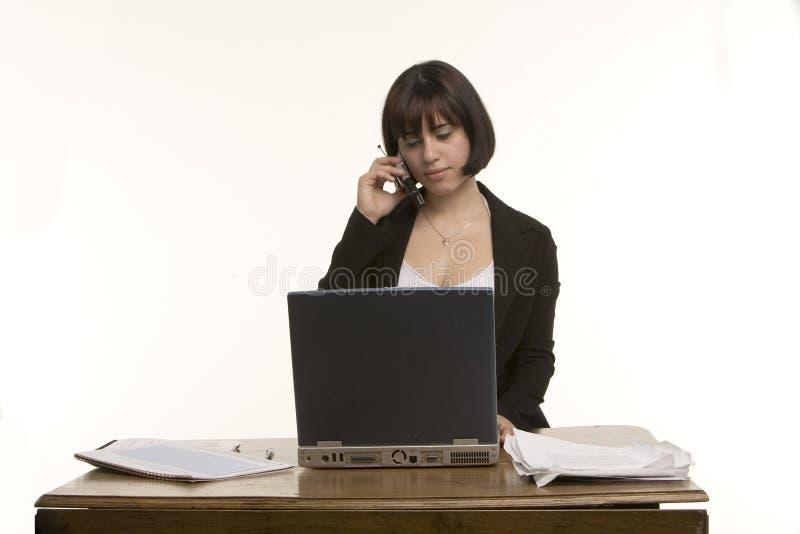 cell pc phone using woman στοκ εικόνα