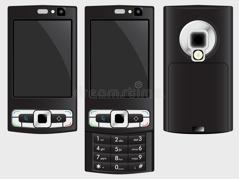 Download Cell phone stock illustration. Image of front, black - 12086487