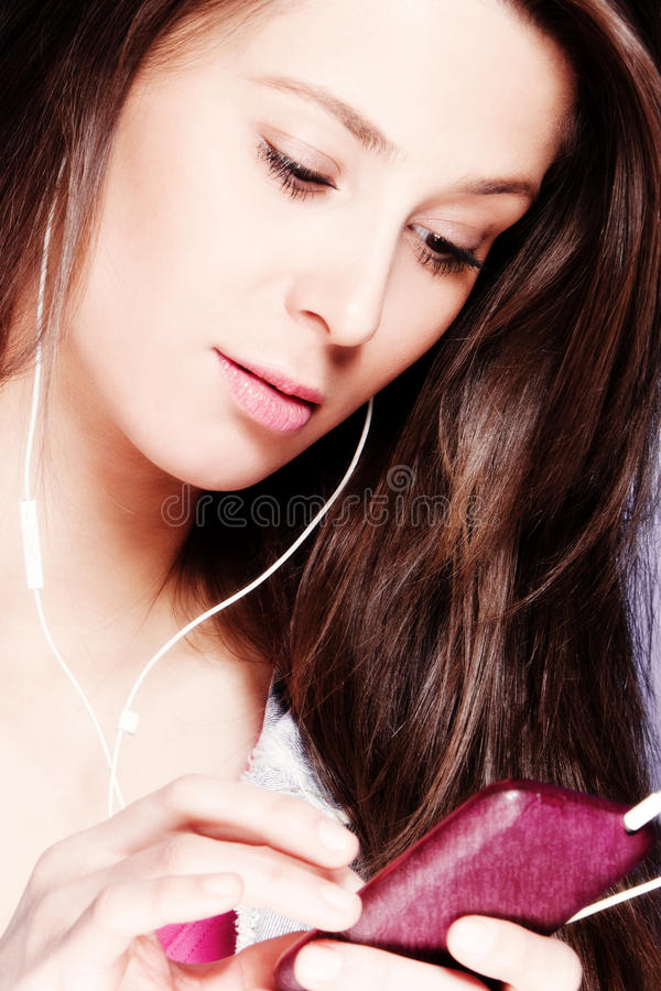 Download Cell phone stock image. Image of woman, close, earphones - 23376139