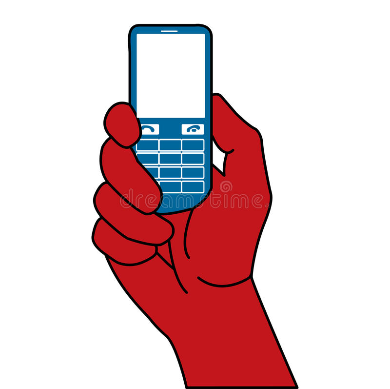Cell phone. Outline of a hand holding a cell phone royalty free illustration