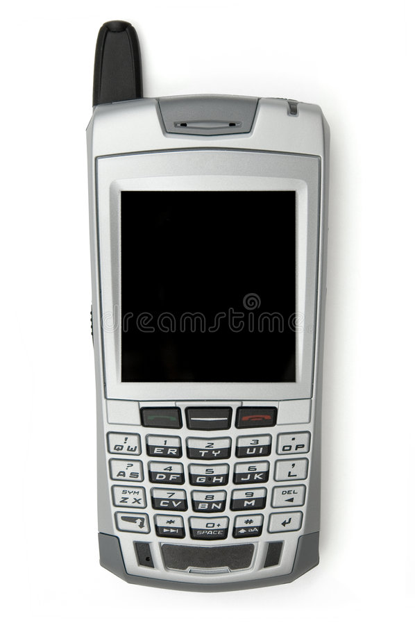 Cell phone. With organizer over white background
