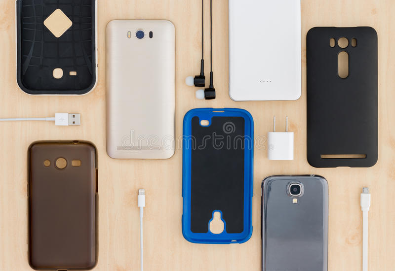 Cell phone and accessories stock photography