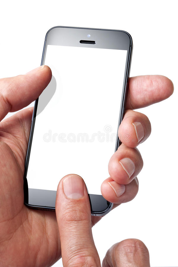 Cell Phone Hand Finger. A man using a mobile cell phone isolated on white with a blank screen