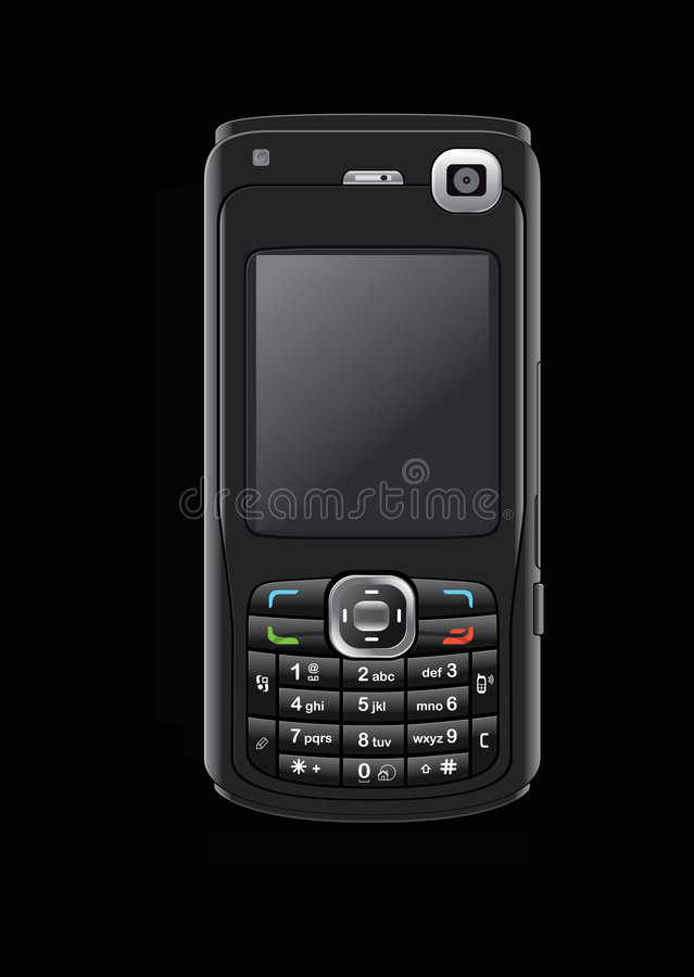 Download Cell phone on black stock image. Image of phone, white - 6012689