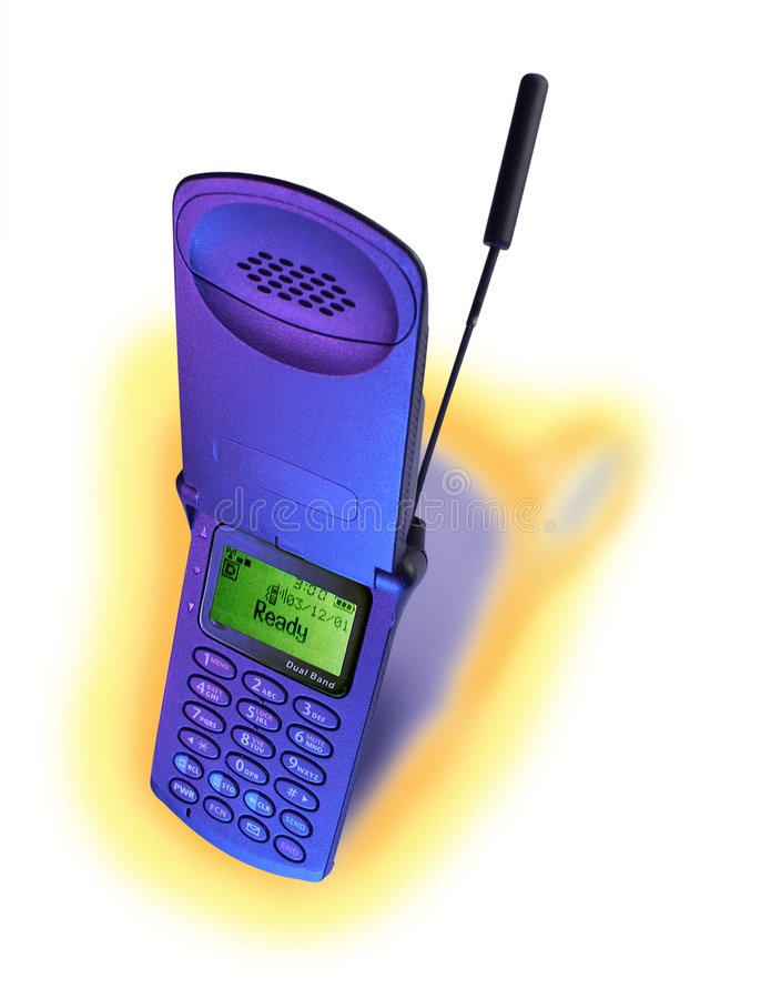 Cell Phone, Blue. Cell phone lit with blue light and background shadow colored in Photoshop stock photos