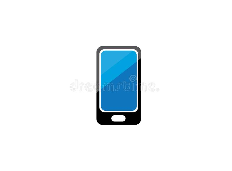 Cell phone with a blue screen for logo design stock illustration