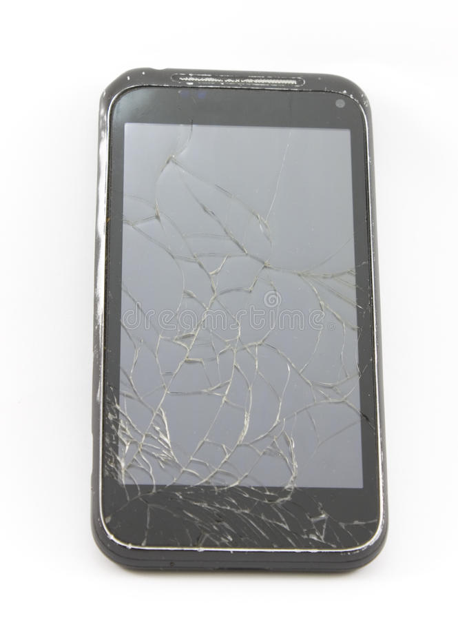 Cell phone with a broken screen stock photography