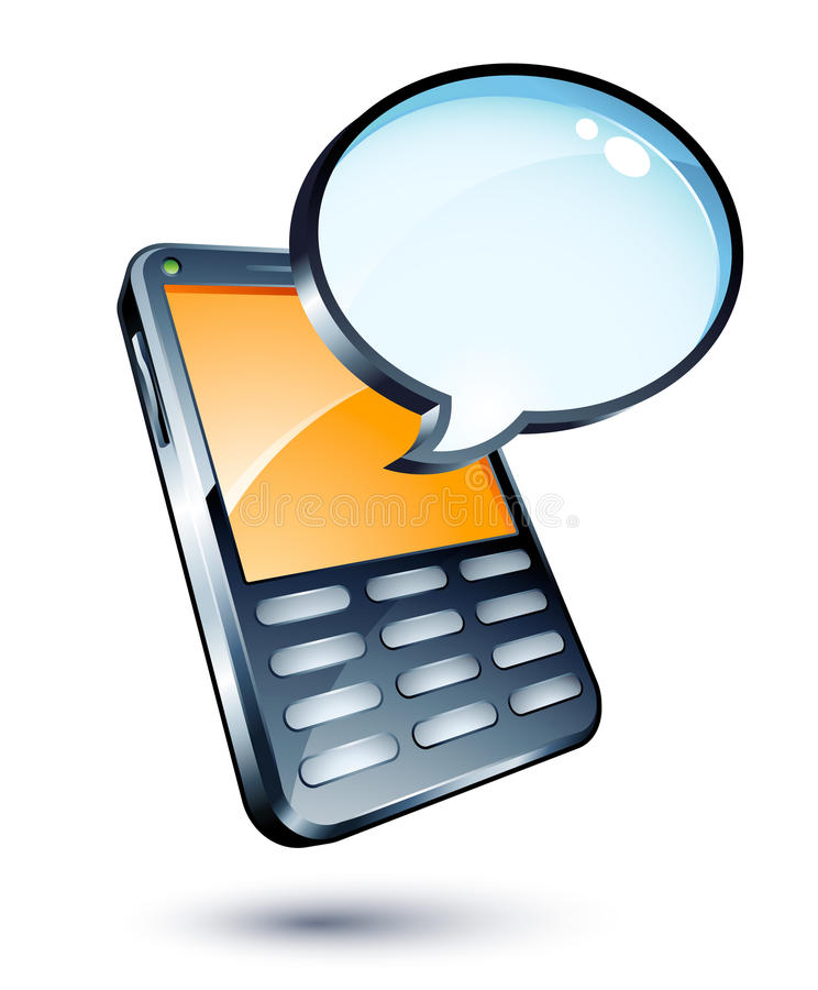 Cell phone and bubble. A cell phone illustration with a quote bubble