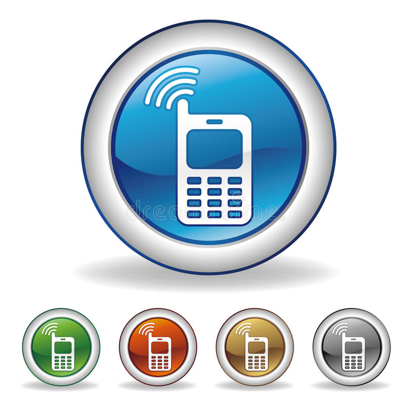 Cell-phone button. On white background vector illustration