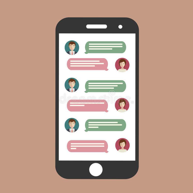 Cell phone chat stock illustration
