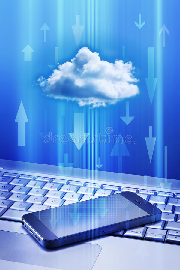Cell Phone Cloud Technology royalty free stock photo