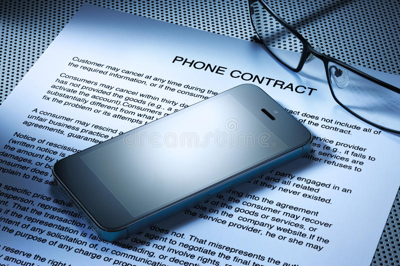 Cell Phone Contract stock images