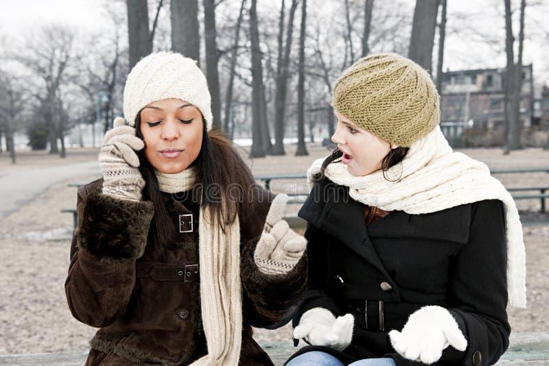 Cell phone etiquette problem stock photo
