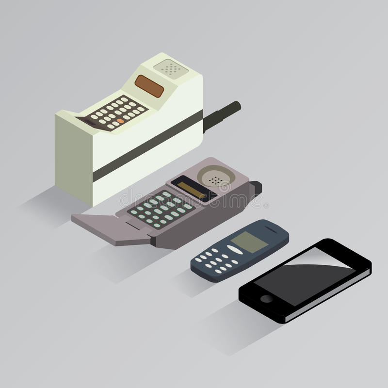 Cell phone evolution isometric royalty free illustration