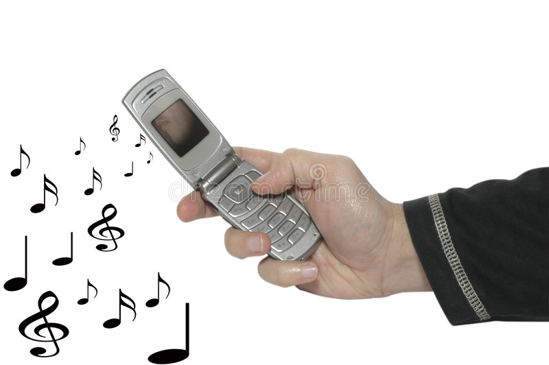 Cell Phone In A Hand & Music 2 Royalty Free Stock Photo