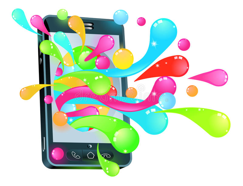 Cell phone jelly bubble concept royalty free illustration