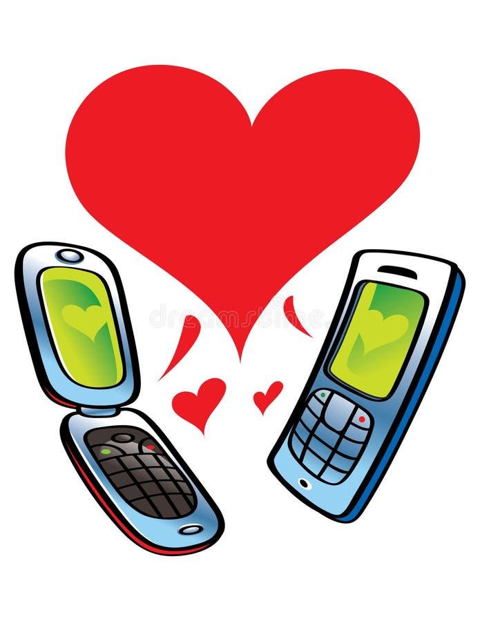 Cell Phone Love stock illustration